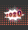 2020 new year with light bulbs retro background vector image