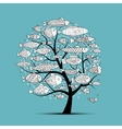 Art fish tree sketch for your design vector image vector image
