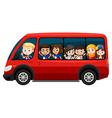 Children riding on red van vector image vector image