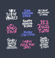 christmas hand drawn color lettering set vector image vector image