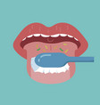 cleaning the tongue by toothbrush vector image vector image