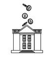 coins falling into bank building black and white vector image vector image