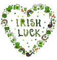 collection of irish symbols irish luck lettering vector image vector image