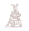 coloring page with bunny or cute rabbit standing vector image