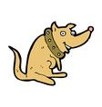comic cartoon happy dog in big collar vector image vector image