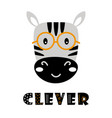 cute cartoon zebra face on white background vector image vector image