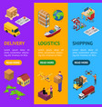 different types warehouse 3d banner vertical set vector image vector image