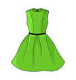 elegant green dress with belt template vector image vector image