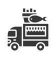 fish and chips truck food truck solid style icon vector image vector image