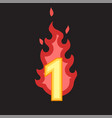 flaming number one vector image