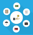 flat icon finance set of counter greenback vector image
