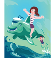 girl and boy on the dolphin vector image