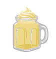glass square cup milkshake with vanilla or vector image vector image