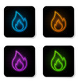 glowing neon fire flame icon isolated on white vector image