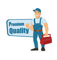 Happy cartoon repairman or construction worker and