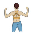 healthy woman in yellow vest to flex his back vector image