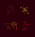 honey linear icon set vector image