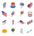 Independence day isometric 3d icons vector image vector image