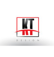 kt k t logo letters with red and black colors and vector image