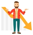 Man with declining chart vector image vector image