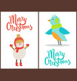 merry christmas snowman bird vector image