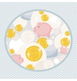 Pattern with saving pigs and money vector image