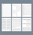 planner pages notebook agenda diary vertical vector image