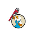 Plumber Eagle Raising Up Pipe Wrench Circle vector image vector image