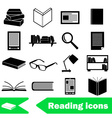 reading books theme set of simple black icons vector image vector image