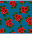 red hibiscus syriacus - rose sharon on indigo vector image vector image