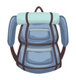 rucksack with mat for sleeping traveling and vector image