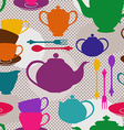 Seamless pattern of tea set vector image vector image