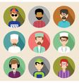 Set of circle flat icons with men vector image vector image