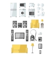 Set of household appliances flat colourful icons vector image vector image