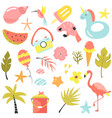 set summer elements icons vector image