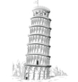 sketch italy landmark leaning tower pisa vector image