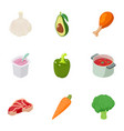 soup icons set cartoon style vector image