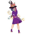 sugar skull witch woman vector image