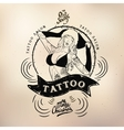 Tattoo girl old school studio skull vector image vector image
