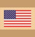 usa flag on beige brick wall vector image vector image