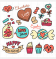 valentine chocolate and candy doodle set vector image