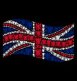 waving great britain flag mosaic of angel icons vector image