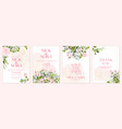 wedding floral golden invitation card save vector image