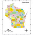 wisconsin state outline administrative and vector image vector image