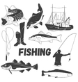 set of fishing labels in vintage style vector image