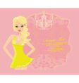 Glamor girl dancing poster card vector image