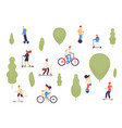 active people in park man woman kids riding vector image vector image