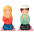 arab muslim boy and girl in traditional clothing vector image