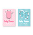 baby shower greeting card template set cute vector image