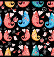 beautiful pattern love chameleons vector image vector image